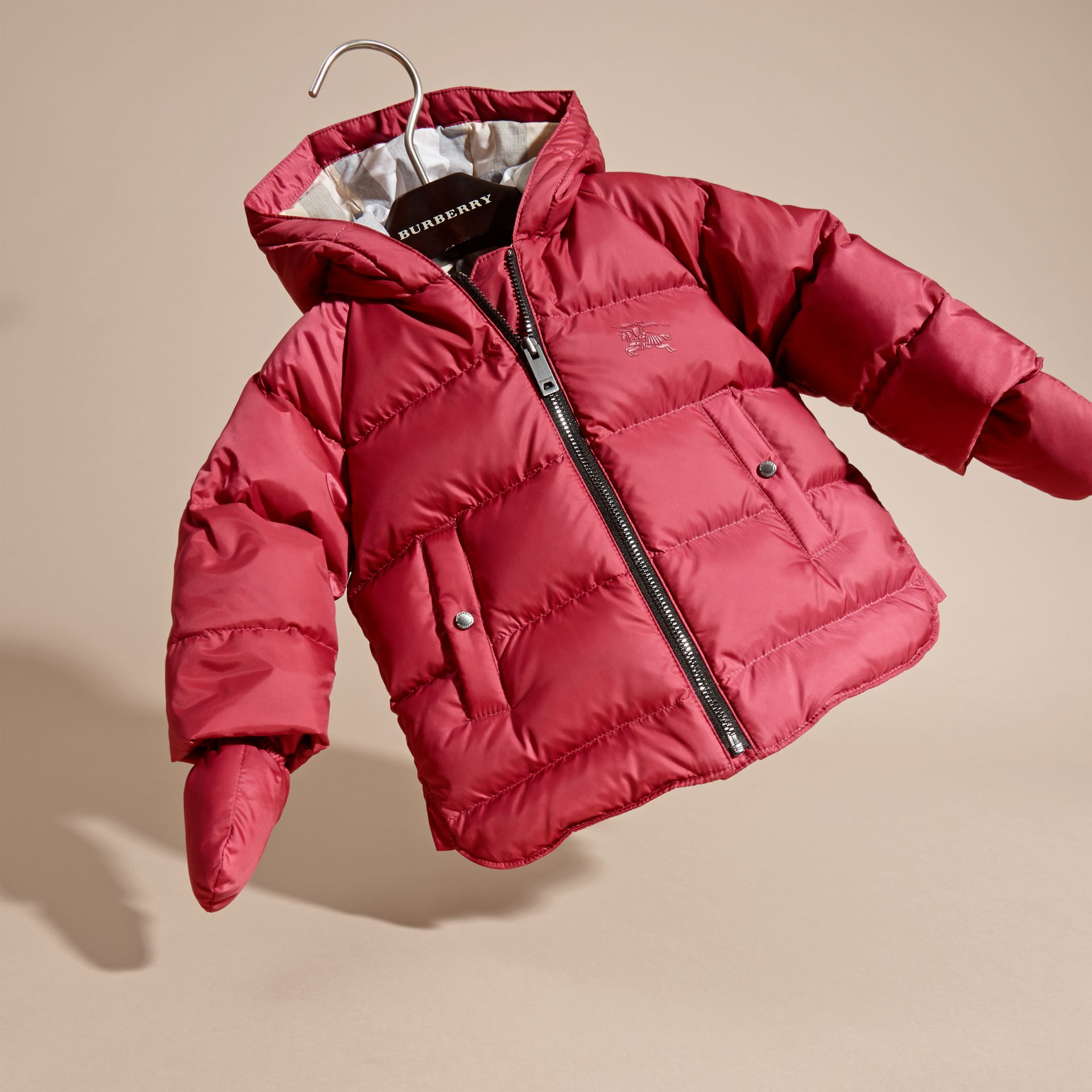 Hooded Down-filled Puffer Jacket with Mittens in Peony Rose - gallery image 3