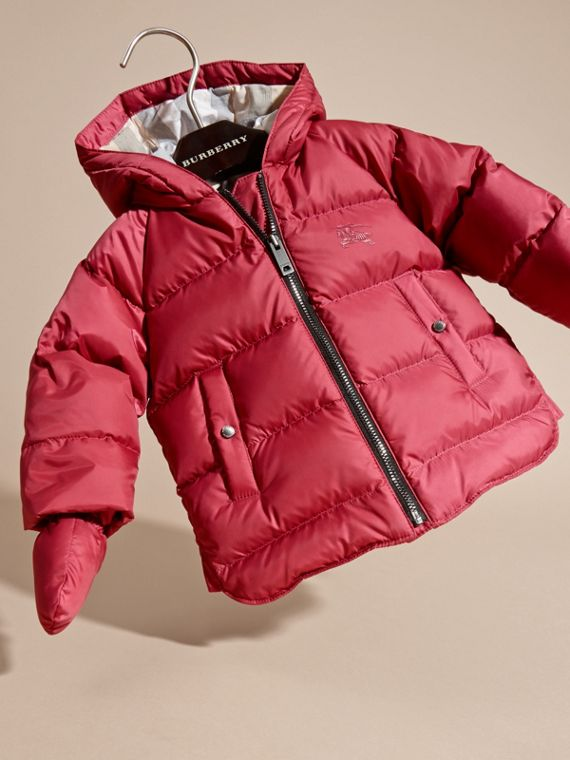 Hooded Down-filled Puffer Jacket with Mittens in Peony Rose - cell image 2