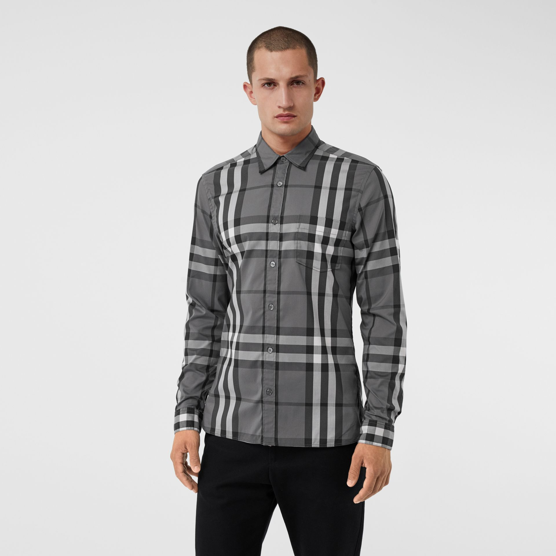 Check Stretch Cotton Shirt in Charcoal - Men | Burberry Canada - gallery image 0