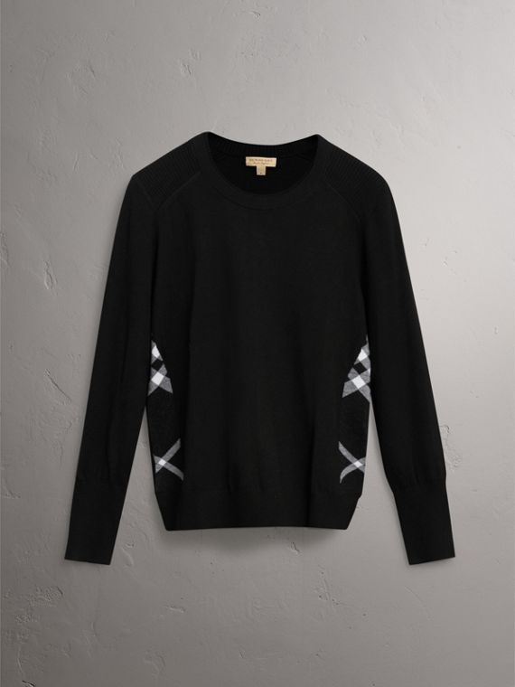 Check Detail Merino Wool Sweater in Black - Women | Burberry - cell image 3