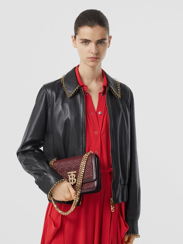 Small Quilted Monogram Lambskin TB Bag in Oxblood - Women | Burberry - cell image 2