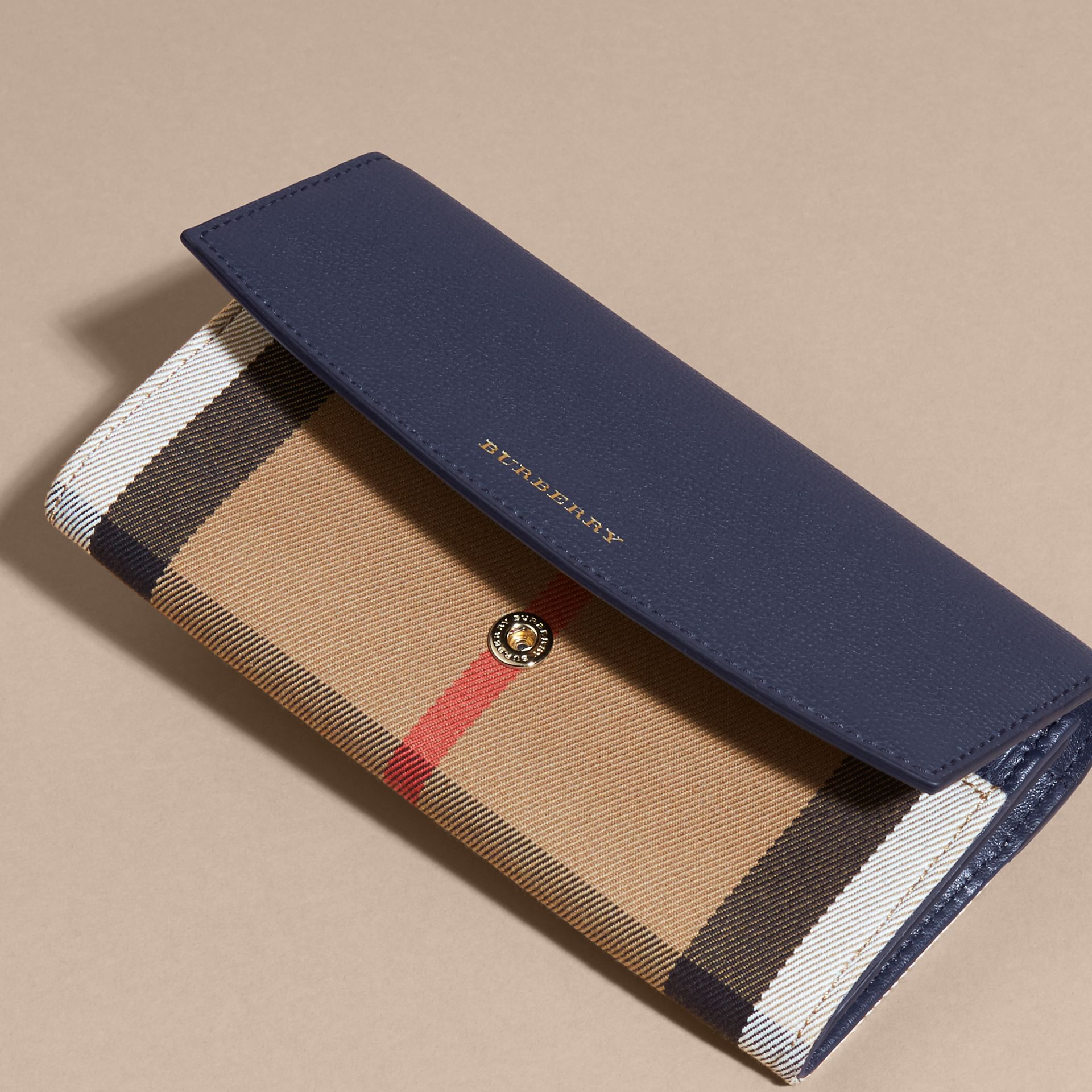 House Check And Leather Continental Wallet in Ink Blue - Women | Burberry - gallery image 7