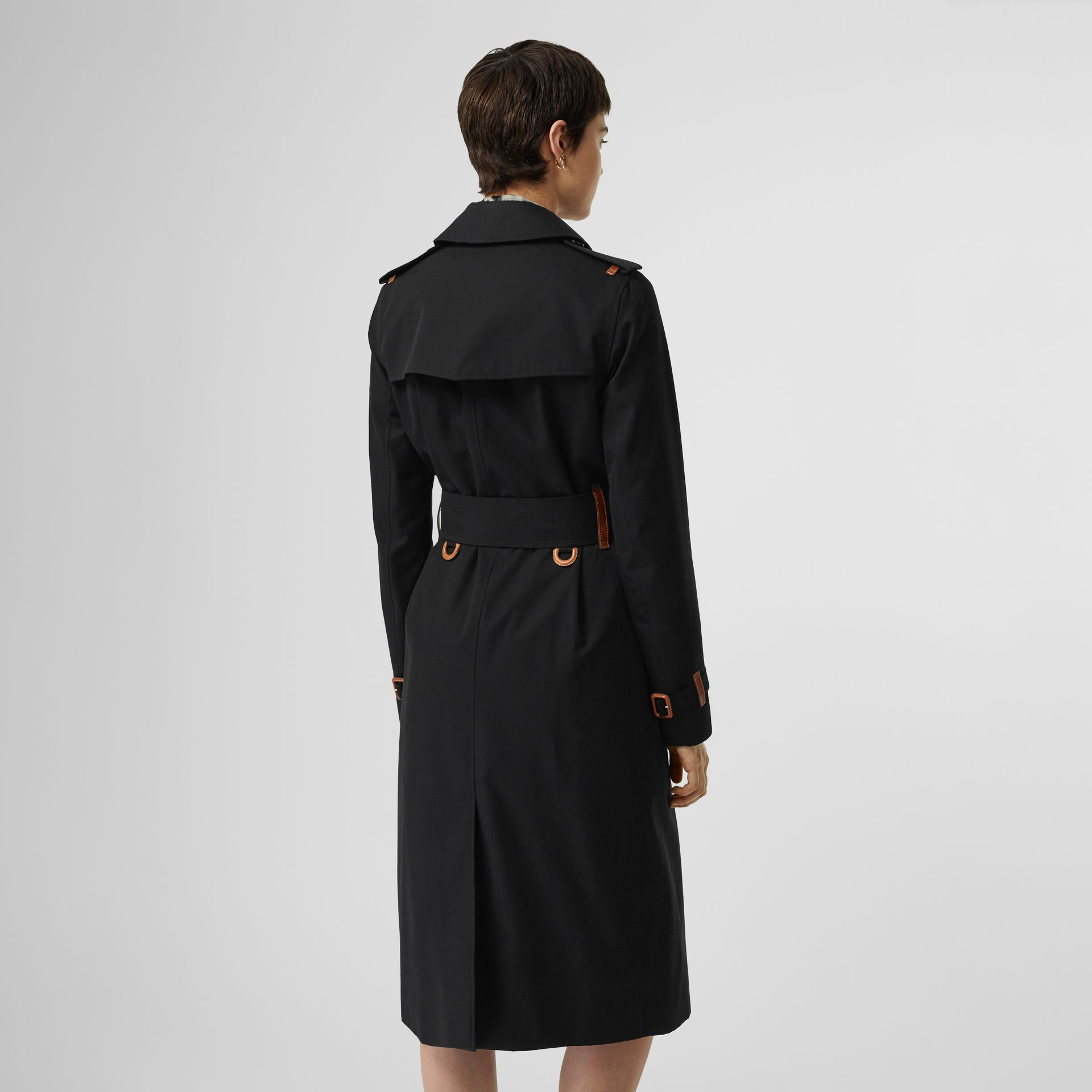 Leather Detail Cotton Gabardine Trench Coat in Black - Women | Burberry Australia - gallery image 2