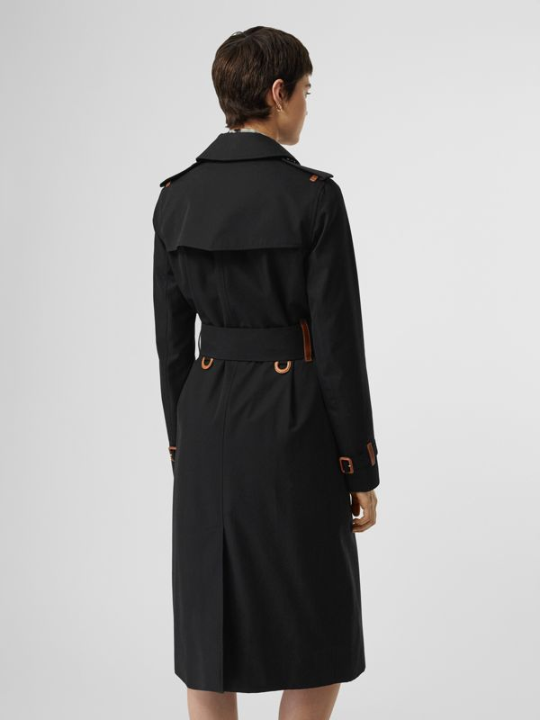 Leather Detail Cotton Gabardine Trench Coat in Black - Women | Burberry Australia - cell image 2