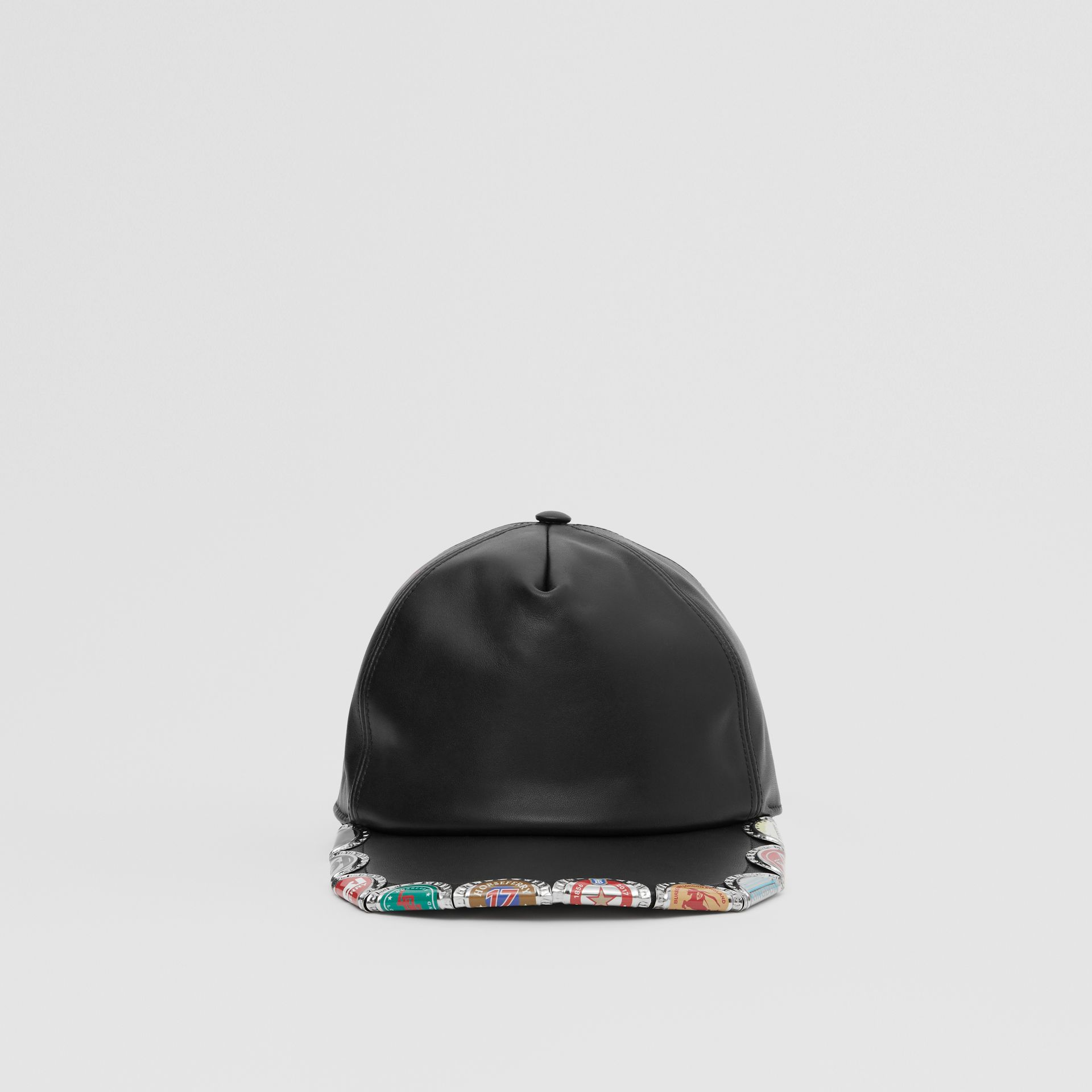 Bottle Cap Detail Leather Baseball Cap in Black | Burberry United Kingdom - gallery image 3