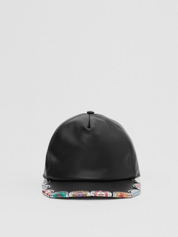 Bottle Cap Detail Leather Baseball Cap in Black