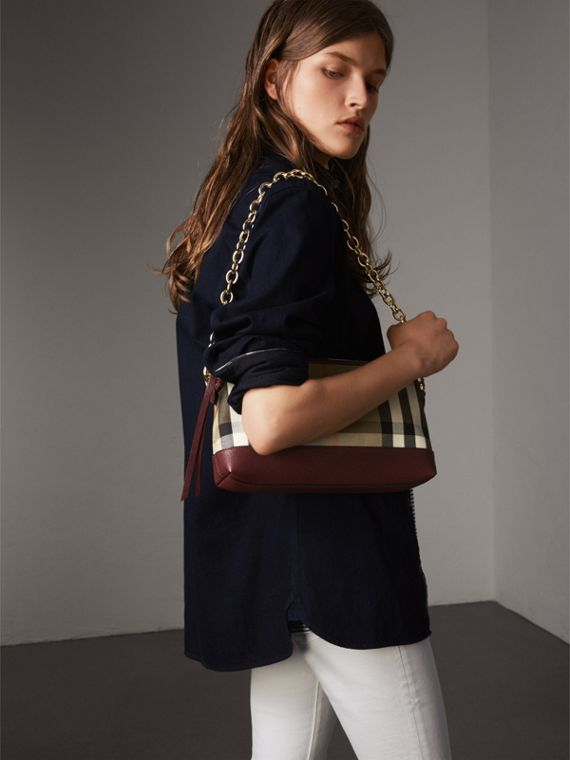 House Check and Leather Clutch Bag in Mahogany Red - Women | Burberry - cell image 3