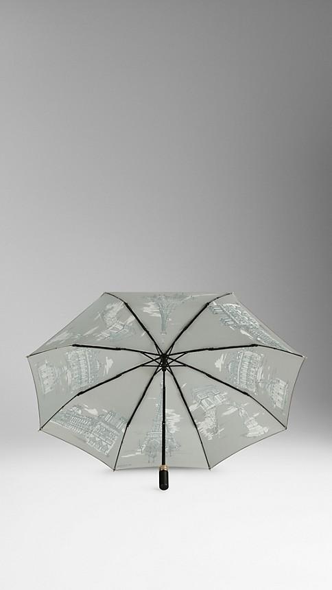 Taupe grey Paris Landmarks Folding Umbrella - Image 2
