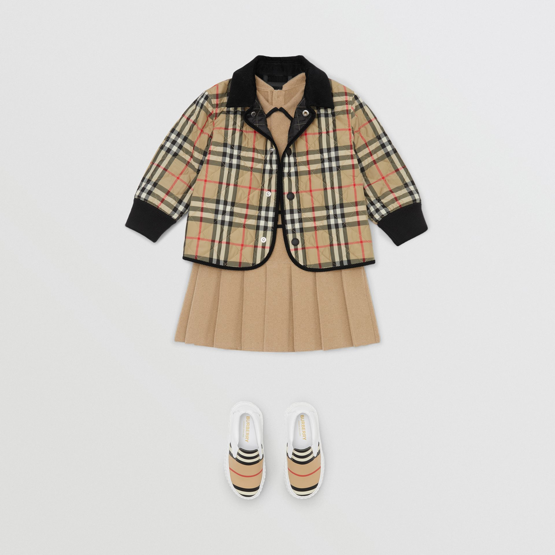 Corduroy Trim Vintage Check Diamond Quilted Jacket in Archive Beige - Children | Burberry - gallery image 1