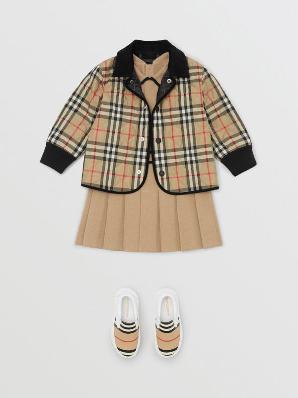 Corduroy Trim Vintage Check Diamond Quilted Jacket in Archive Beige - Children | Burberry - cell image 2