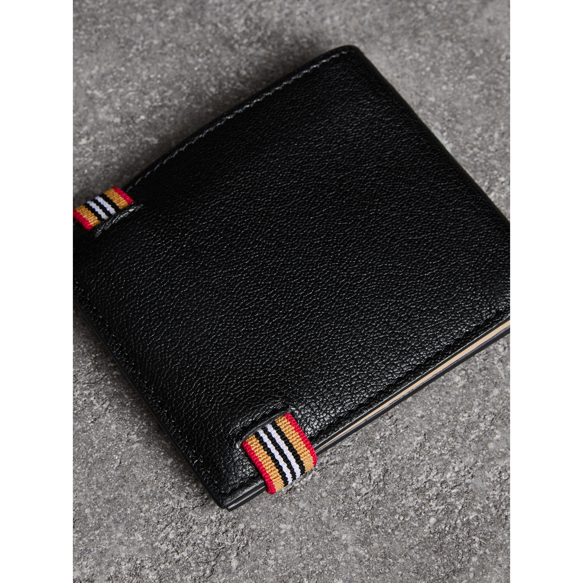 Icon Stripe Leather International Bifold Wallet in Black - Men | Burberry - gallery image 2