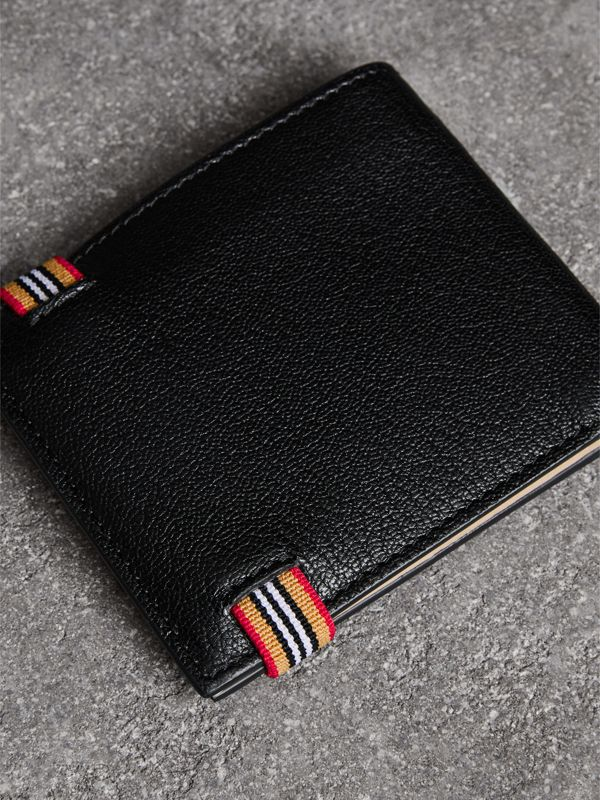 Icon Stripe Leather International Bifold Wallet in Black - Men | Burberry - cell image 2