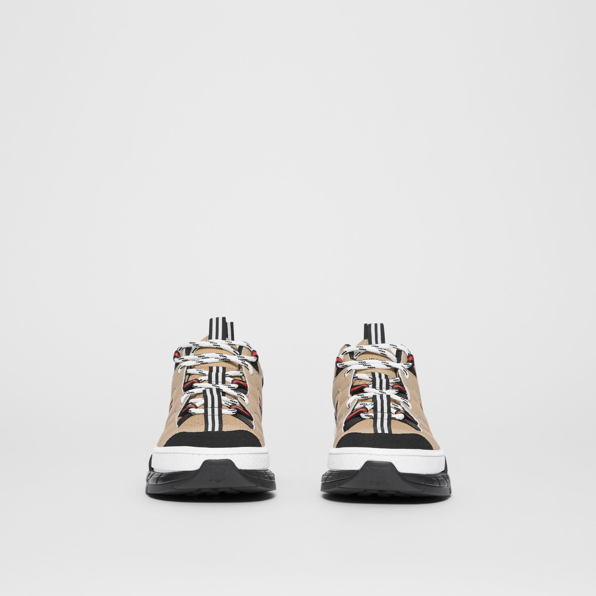 Monogram Motif Mesh and Leather Sneakers in Beige - Women | Burberry - gallery image 2
