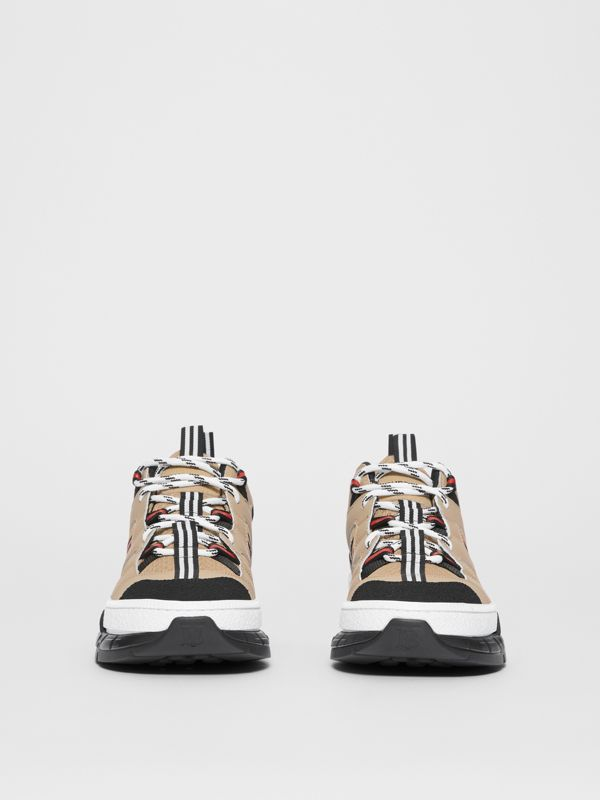 Monogram Motif Mesh and Leather Sneakers in Beige - Women | Burberry - cell image 2