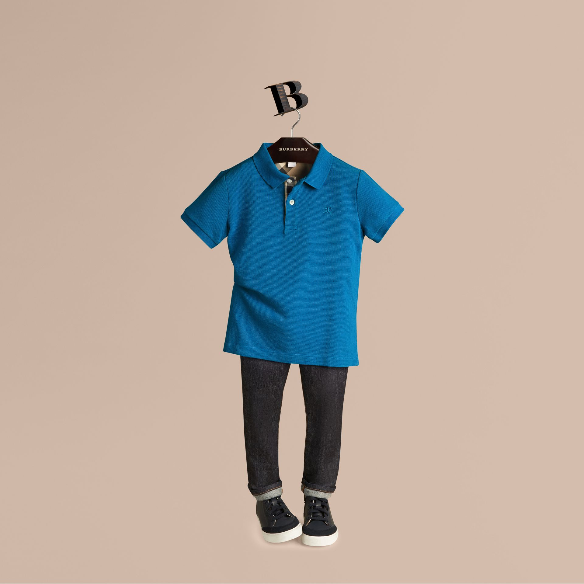 Bright opal Check Placket Polo Shirt Bright Opal - gallery image 1