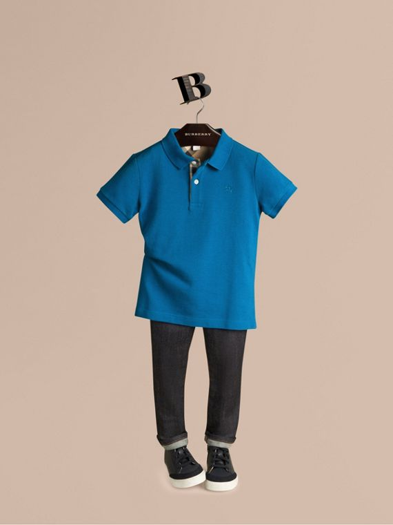 Check Placket Polo Shirt Bright Opal