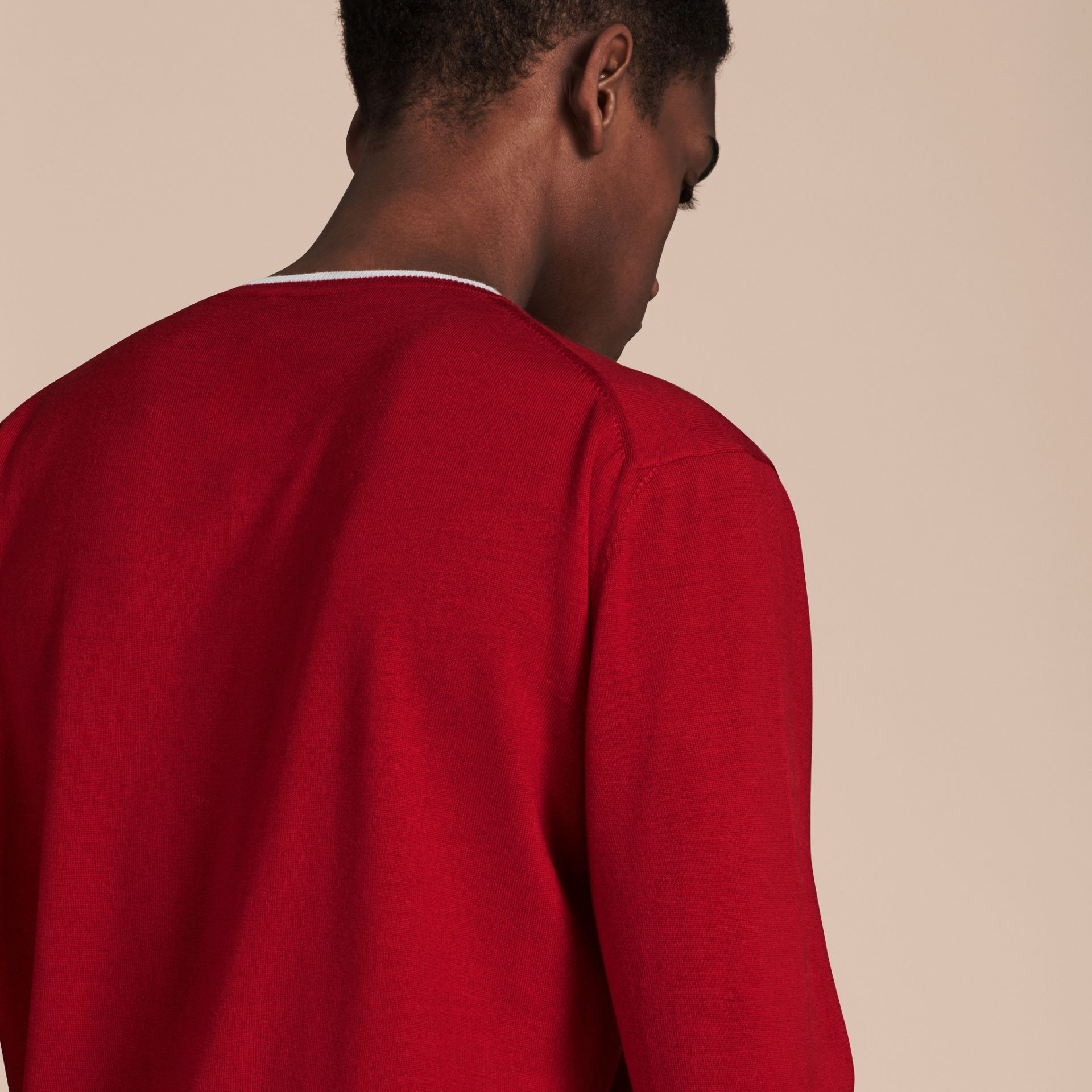 Cranberry  red/white Lightweight Crew Neck Wool Sweater - gallery image 2