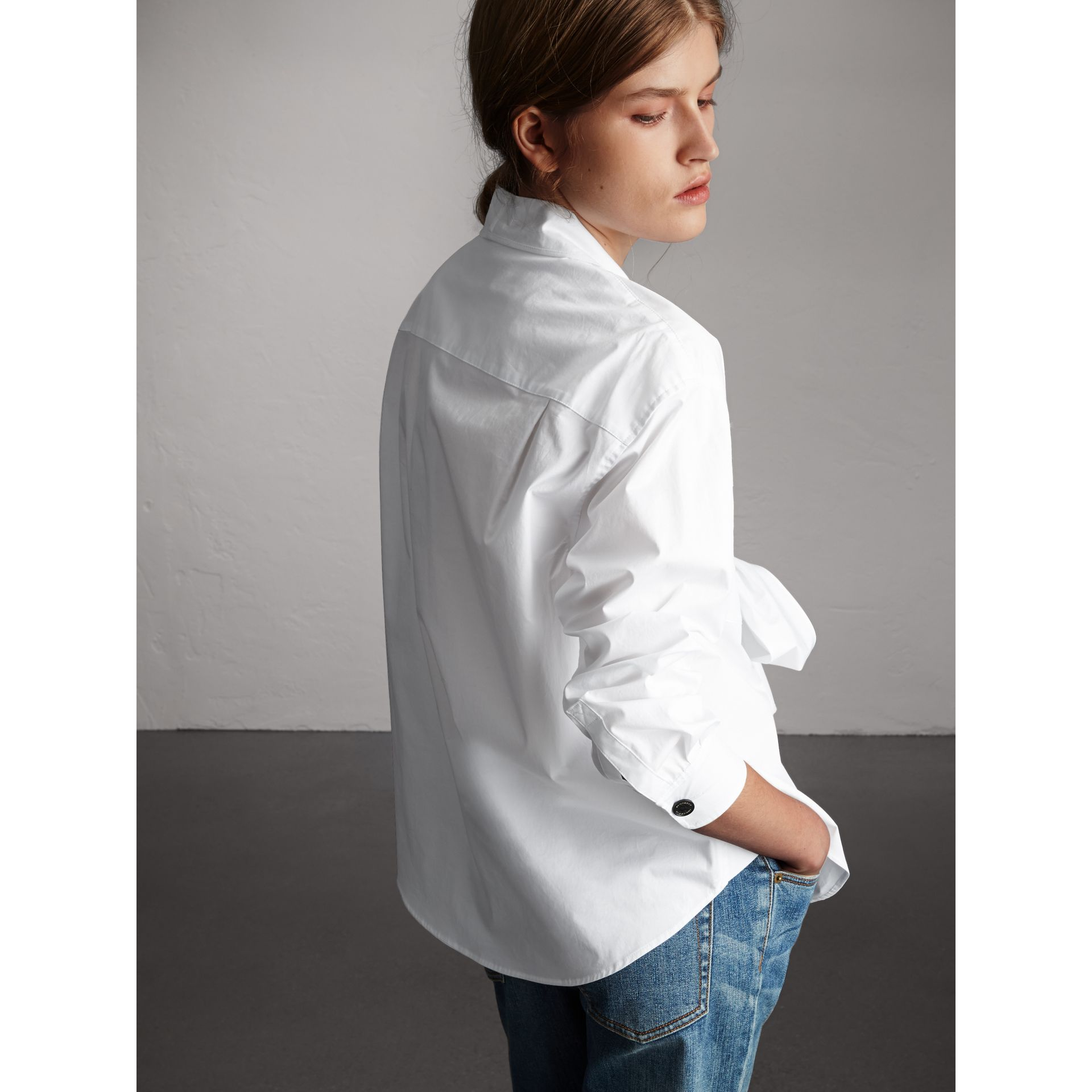 Neck Tie Stretch Cotton Shirt in White - Women | Burberry - gallery image 3
