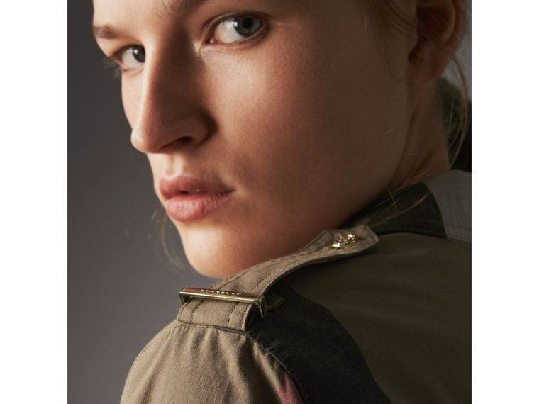 Check Cotton Shirt Dress in Taupe Brown - Women | Burberry Singapore - cell image 1