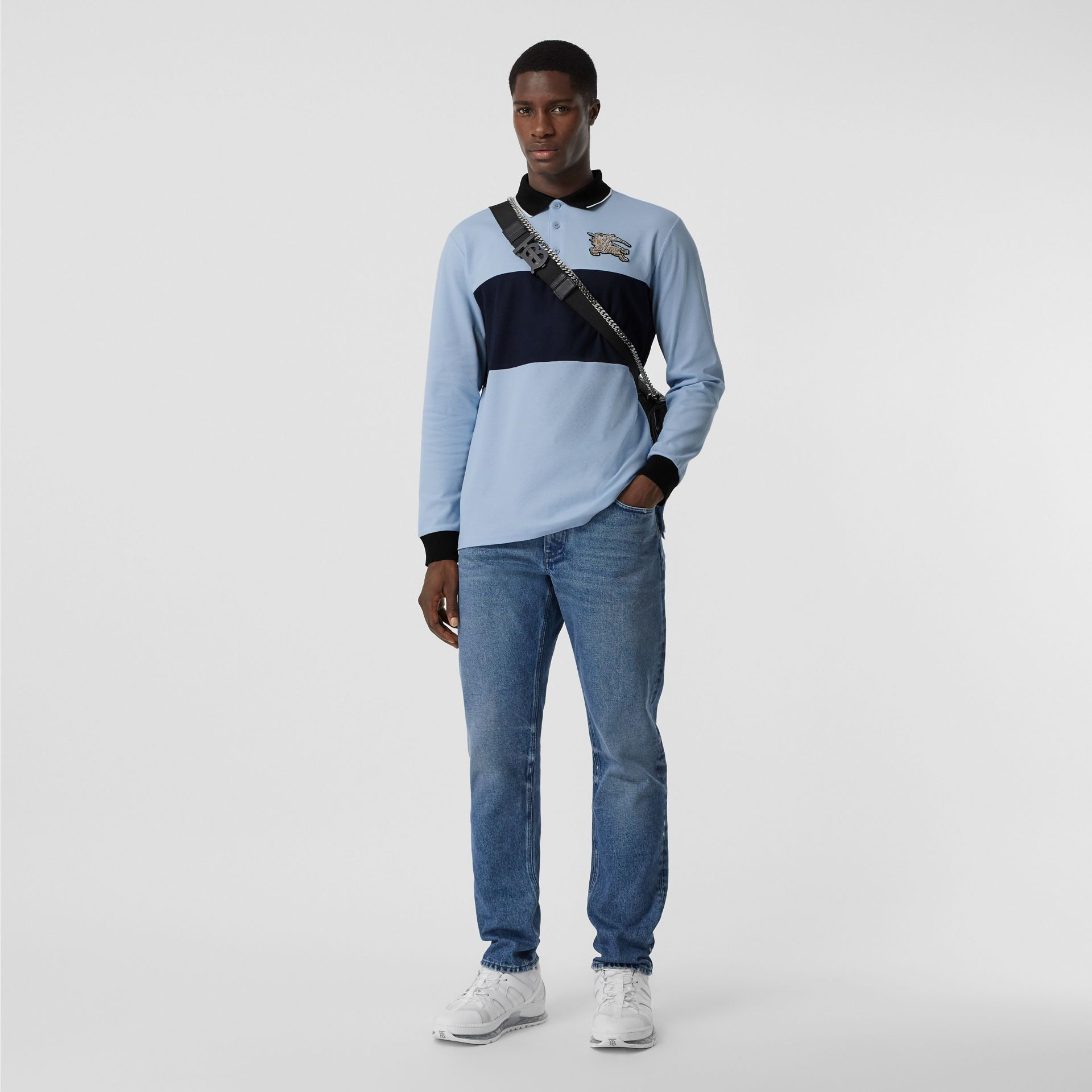 Long-sleeve Logo Graphic Cotton Piqué Polo Shirt in Pale Blue - Men | Burberry United Kingdom - gallery image 0