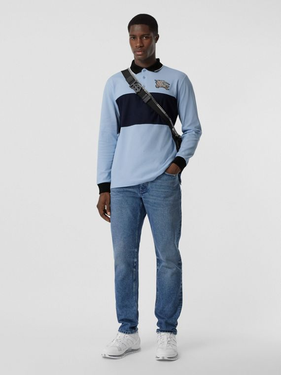 Long-sleeve Logo Graphic Cotton Piqué Polo Shirt in Pale Blue