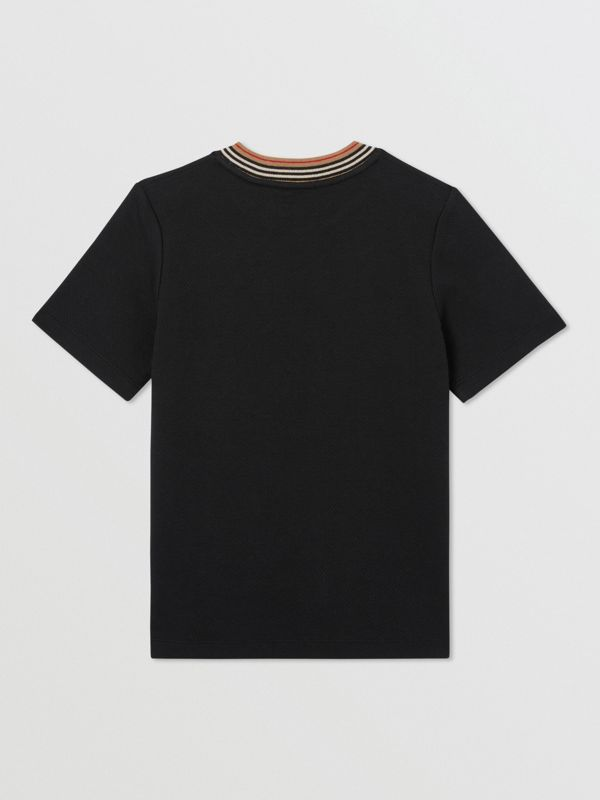 Contrast Logo Graphic Jersey Mesh T-shirt in Black | Burberry - cell image 3