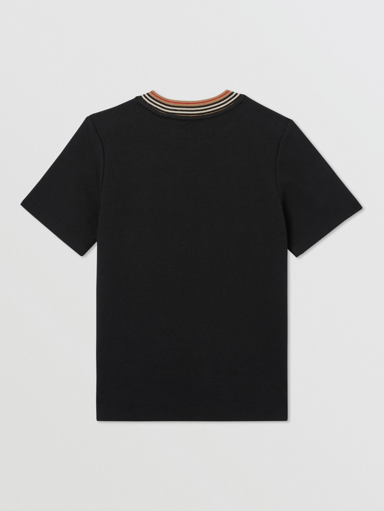 Contrast Logo Graphic Jersey Mesh T-shirt (Black)