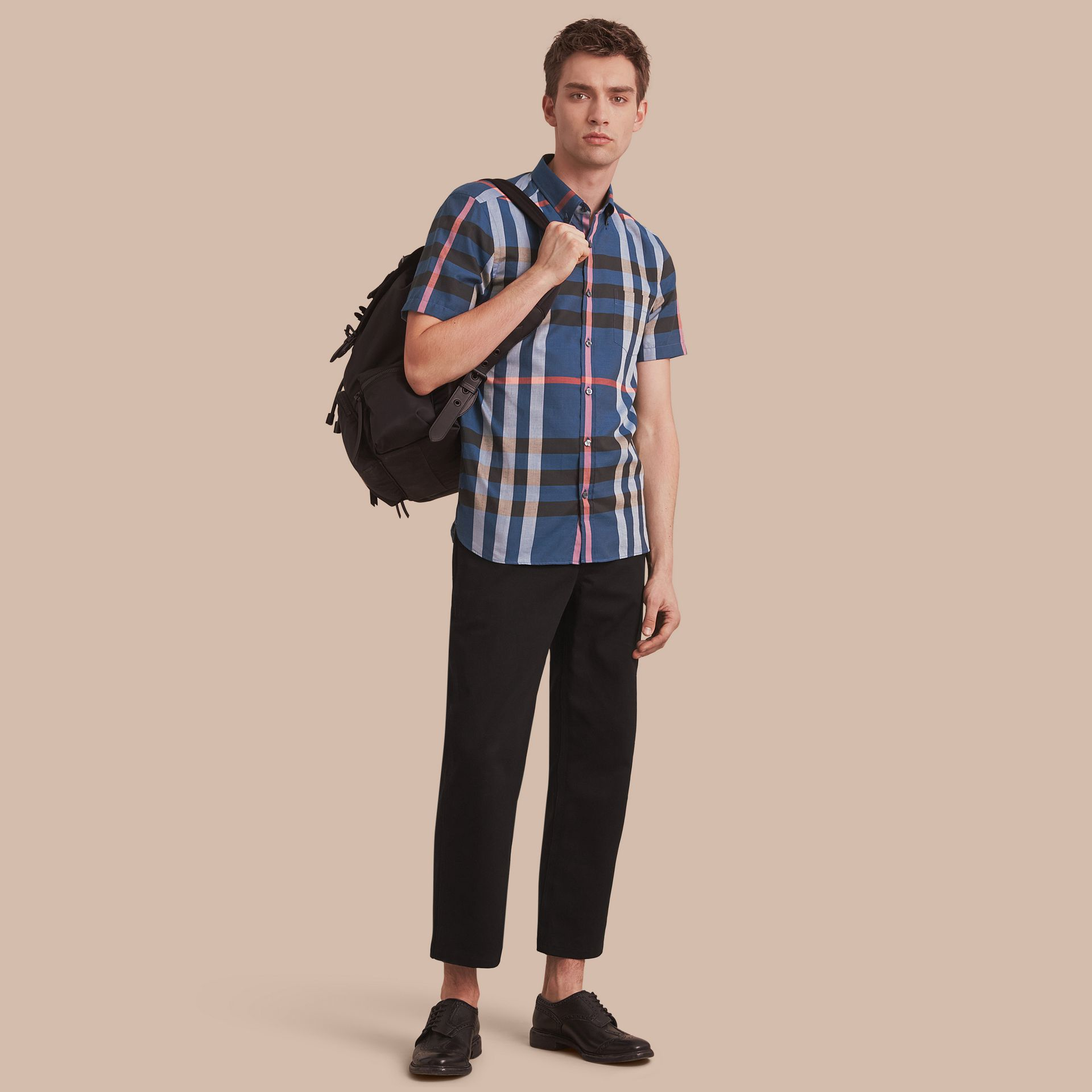 Button-down Collar Short-sleeve Check Cotton Shirt in Ink Blue - gallery image 1
