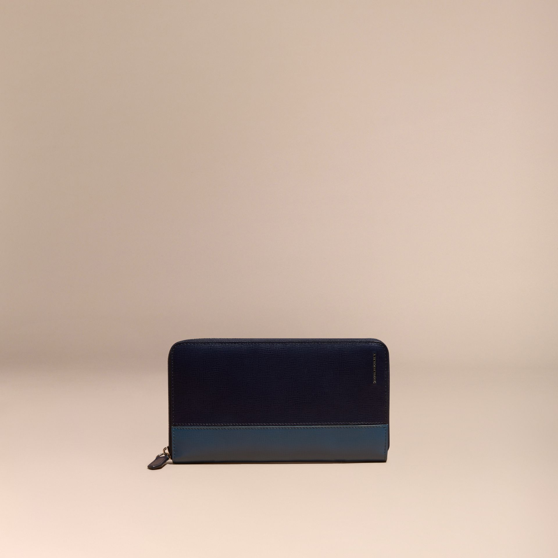 Dark navy/mineral blue Colour Block London Leather Ziparound Wallet Dark Navy/mineral Blue - gallery image 6