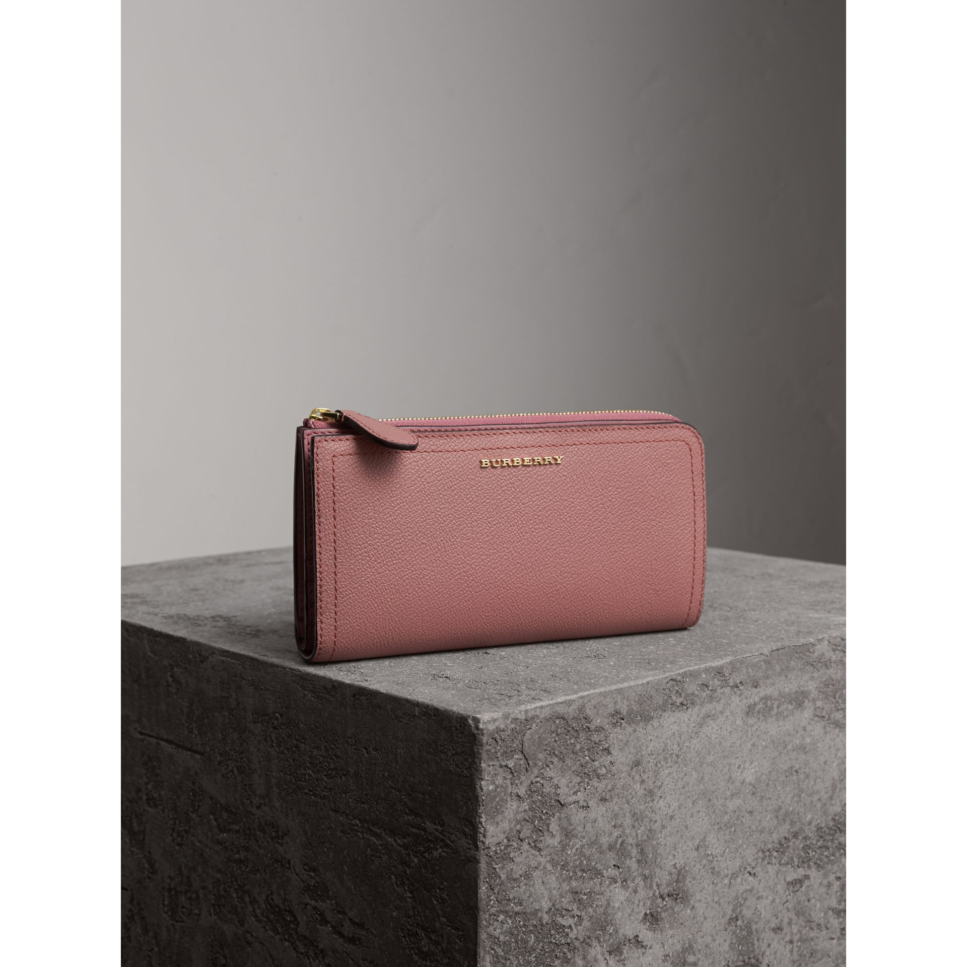 Grainy Leather Ziparound Wallet in Dusty Pink - gallery image 1