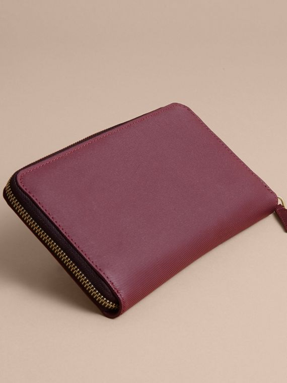 Trench Leather Ziparound Wallet in Wine - Men | Burberry - cell image 3