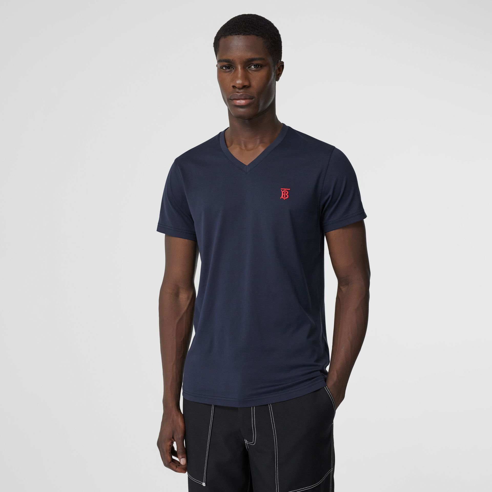 Monogram Motif Cotton V-neck T-shirt in Navy - Men | Burberry - gallery image 0