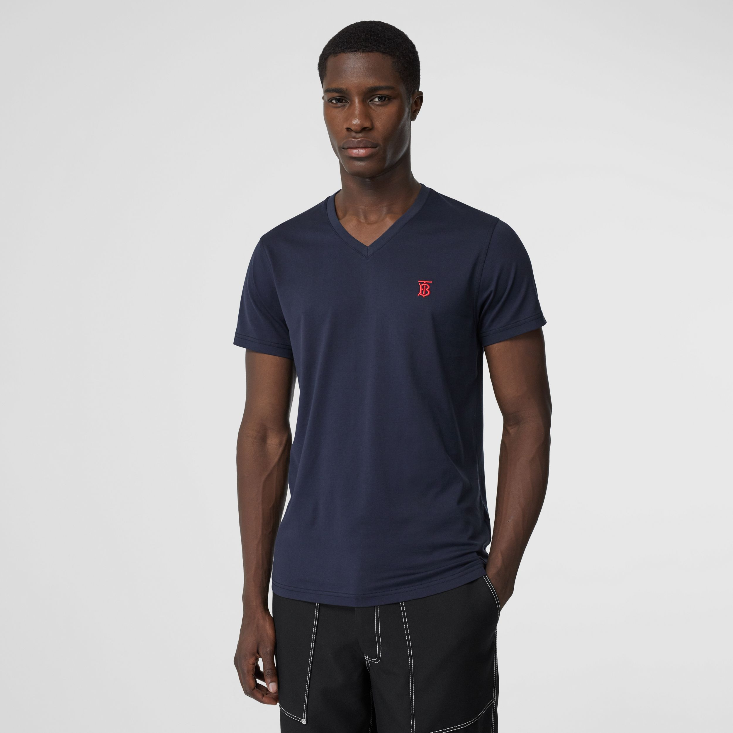 Monogram Motif Cotton V-neck T-shirt in Navy - Men | Burberry - 1