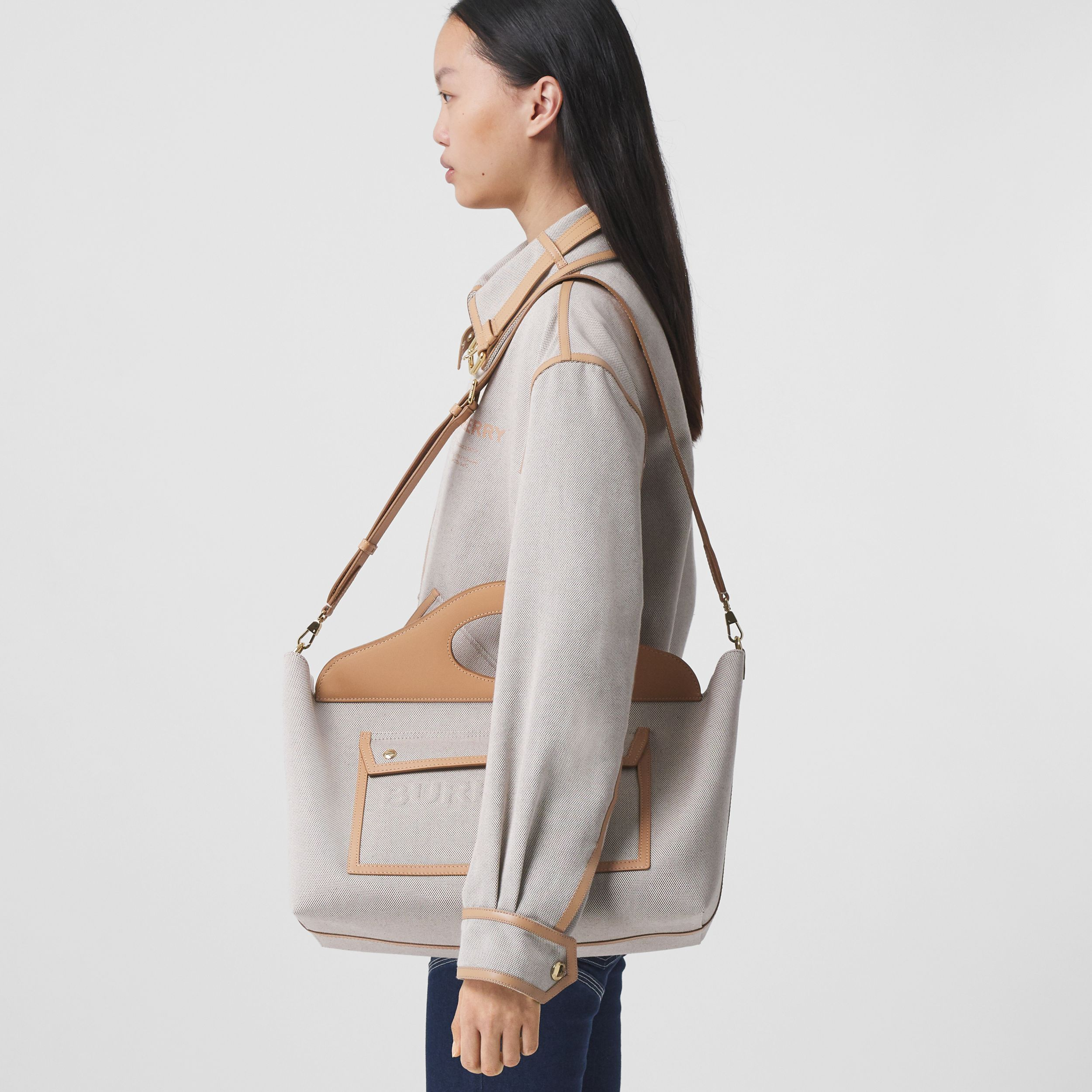 Medium Cotton Canvas and Leather Soft Pocket Tote in Fawn/warm Sand - Women | Burberry United Kingdom - 3