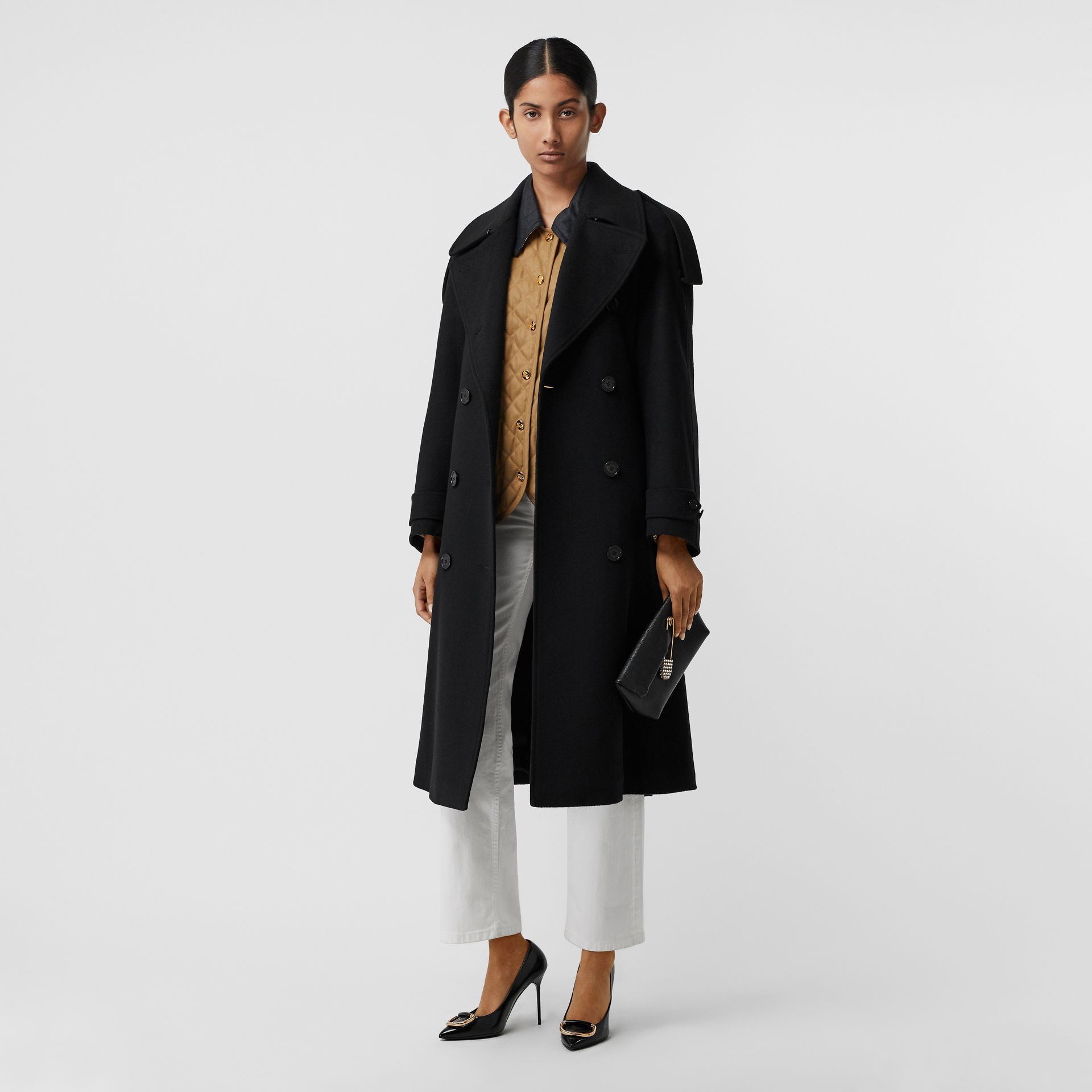 Wool Cashmere Double-breasted Coat in Black - Women | Burberry Canada - gallery image 0