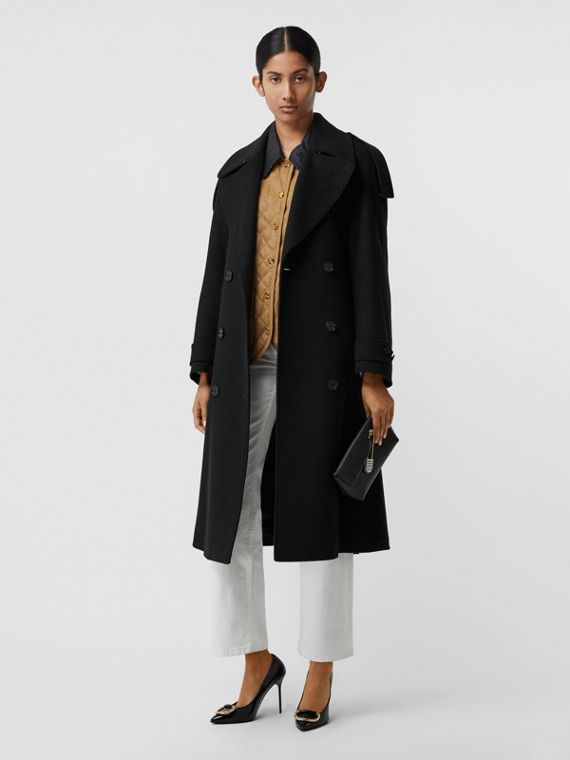 Wool Cashmere Double-breasted Coat in Black