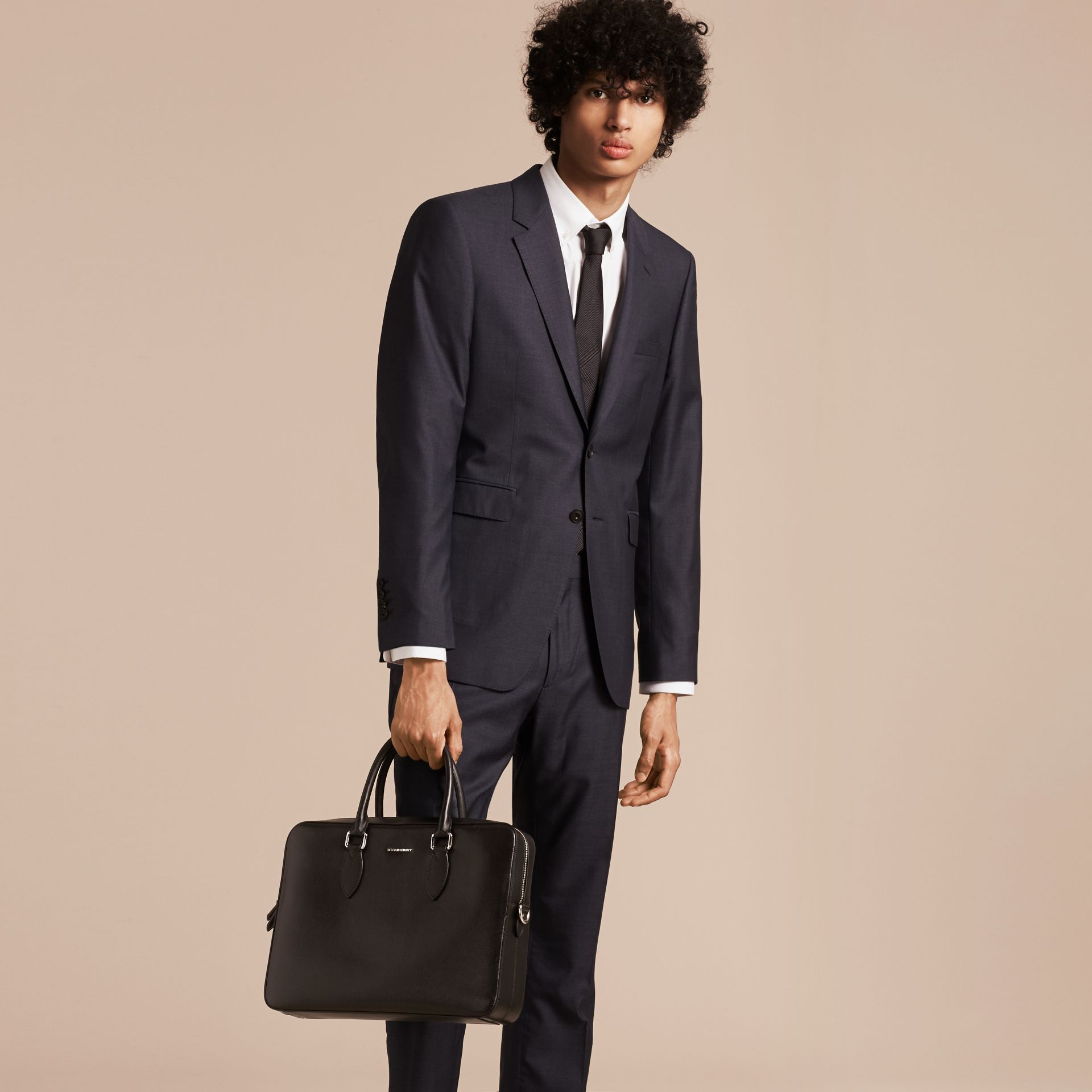 Black Medium London Leather Briefcase Black - gallery image 3