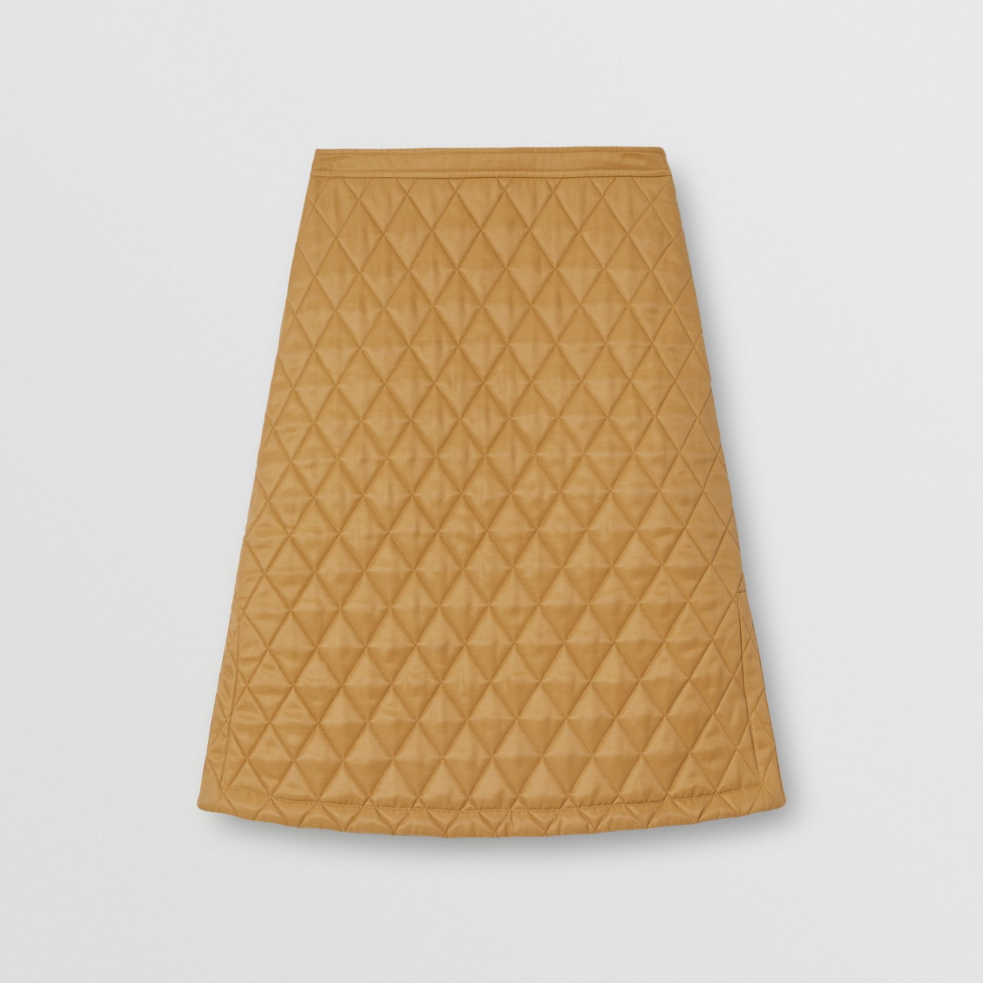 Diamond Quilted Twill A-line Skirt in Camel | Burberry United Kingdom - gallery image 3