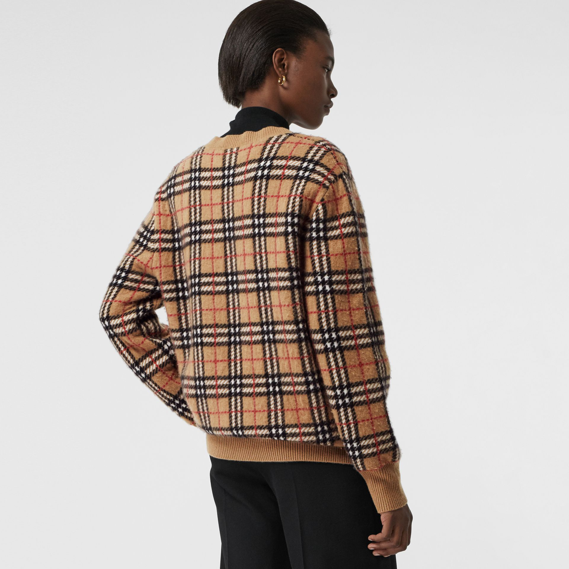 Vintage Check Cashmere Jacquard Sweater in Camel - Women | Burberry - gallery image 2