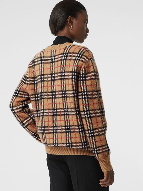 Vintage Check Cashmere Jacquard Sweater in Camel - Women | Burberry United Kingdom - cell image 2