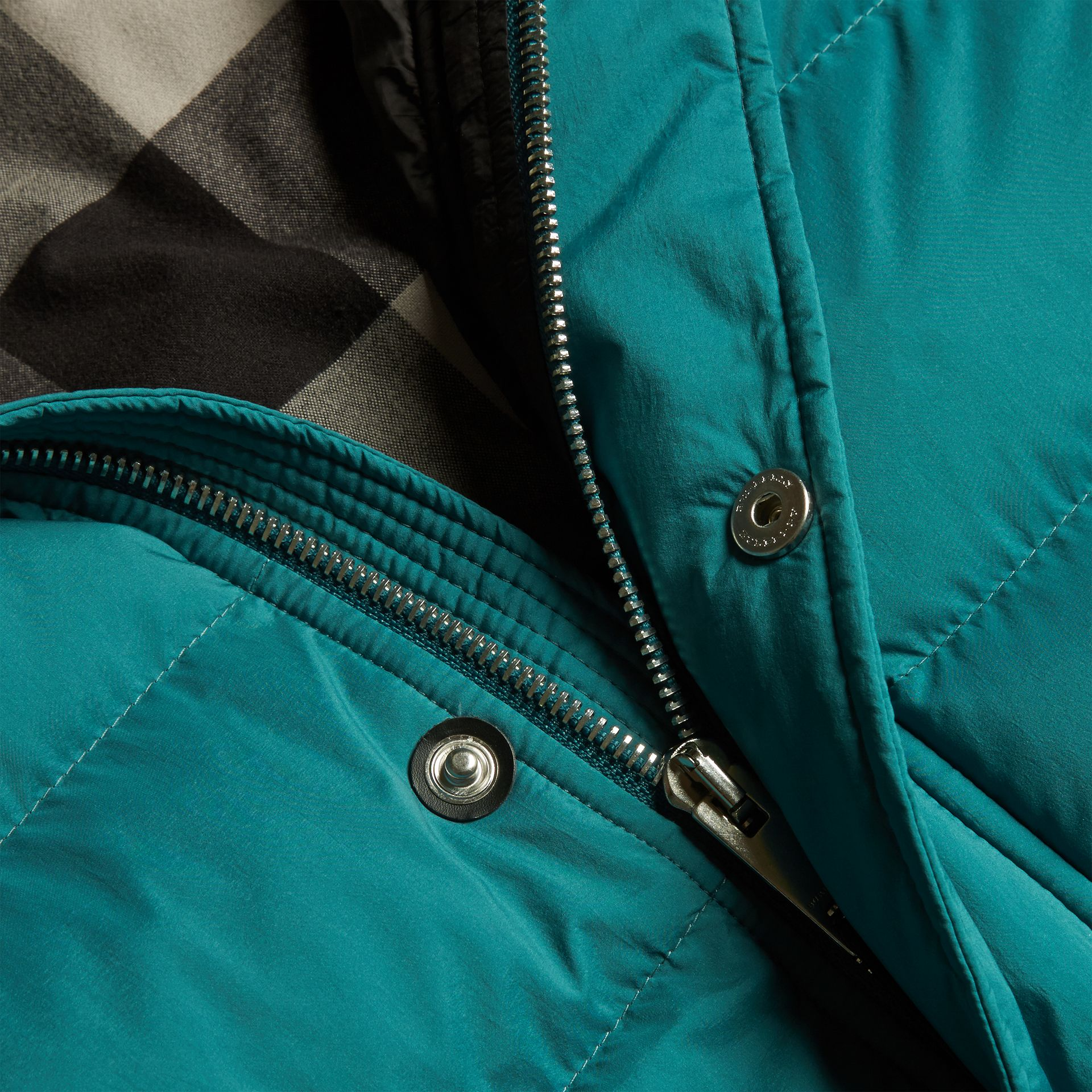 Down-filled Hooded Jacket with Detachable Sleeves in Dusty Teal - gallery image 2