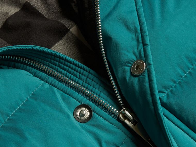 Dusty teal Down-filled Hooded Jacket with Detachable Sleeves Dusty Teal - cell image 1