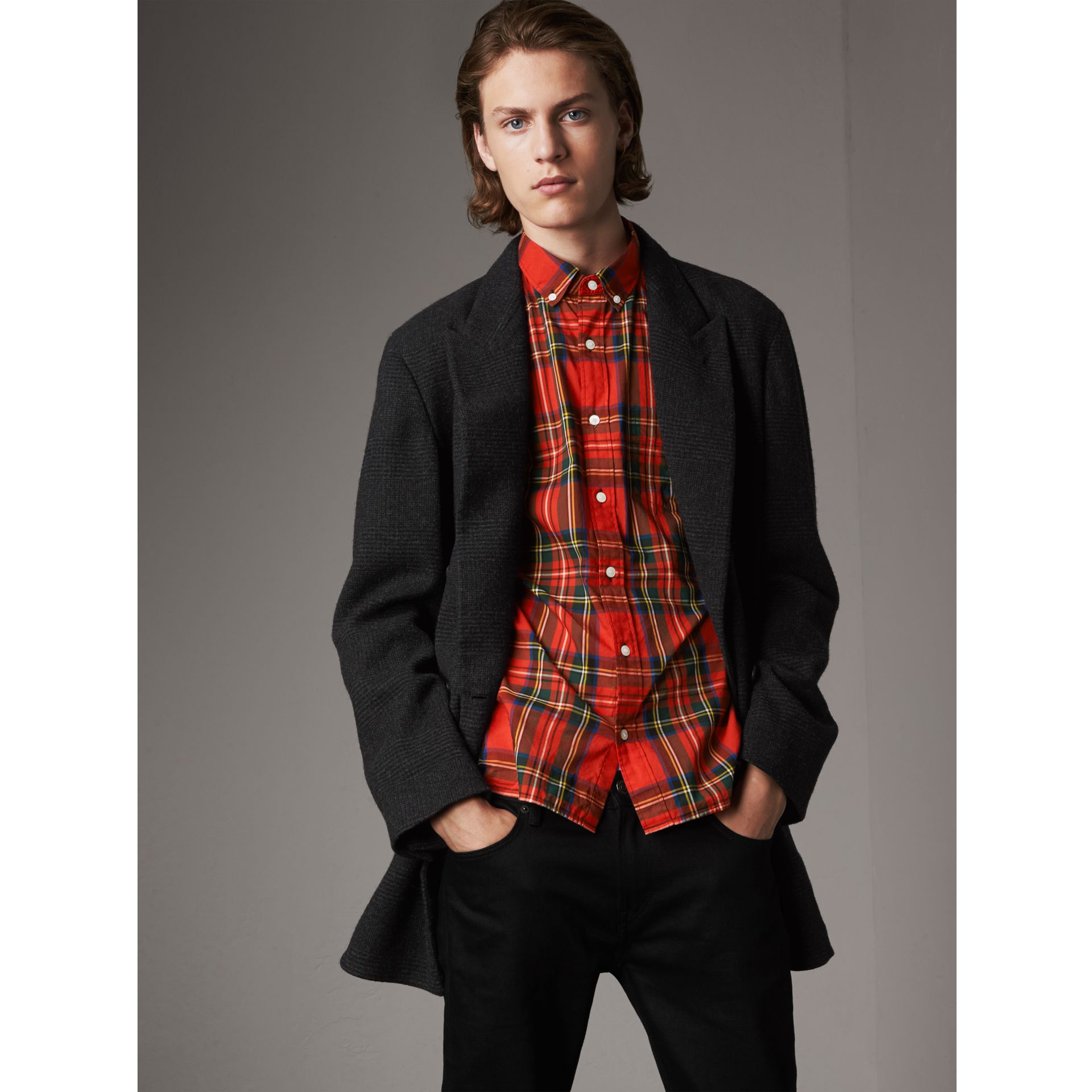 Prince of Wales Wool Blend Double-breasted Jacket in Charcoal Melange - Men | Burberry Australia - gallery image 0