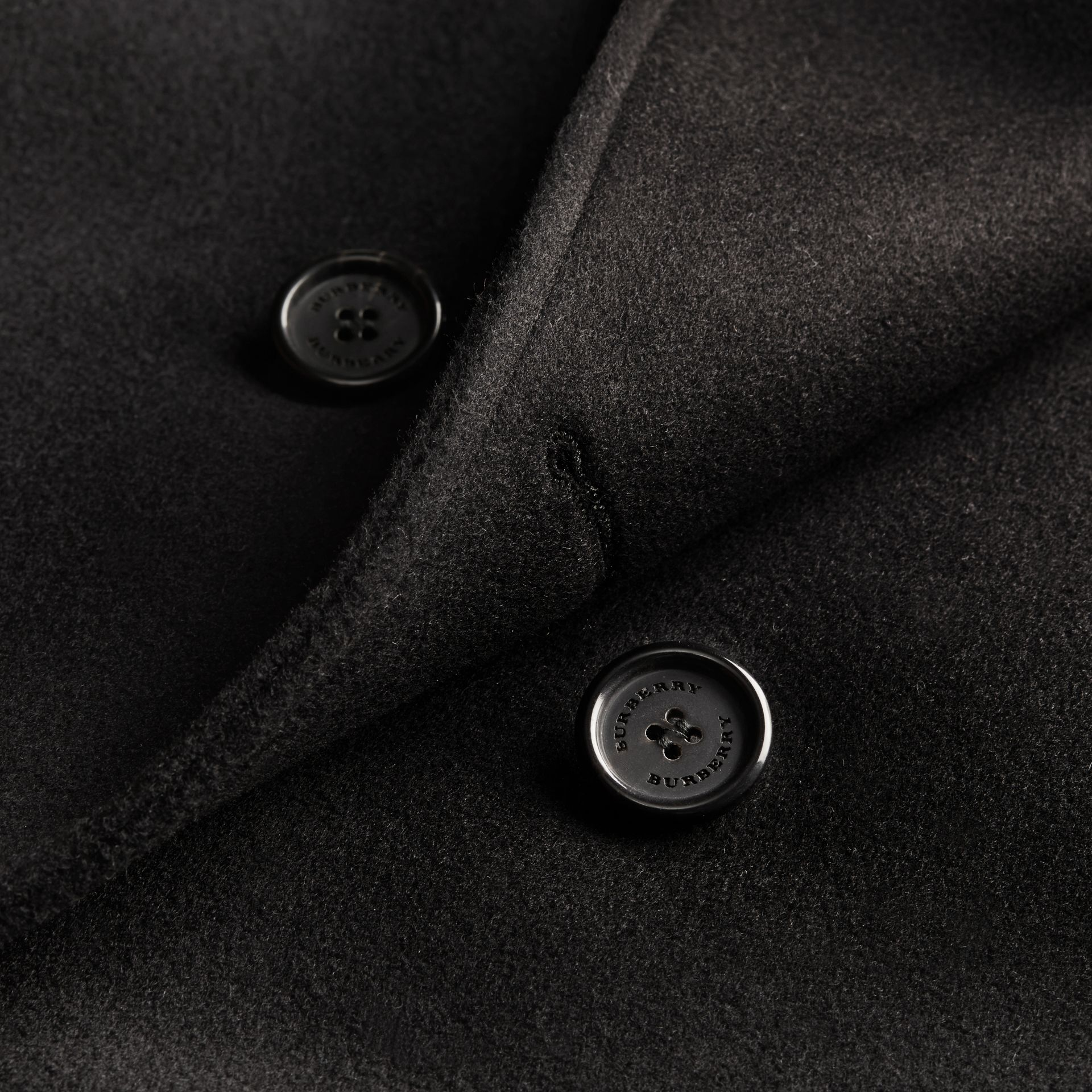 Black Wool Cashmere Trench Coat Black - gallery image 2