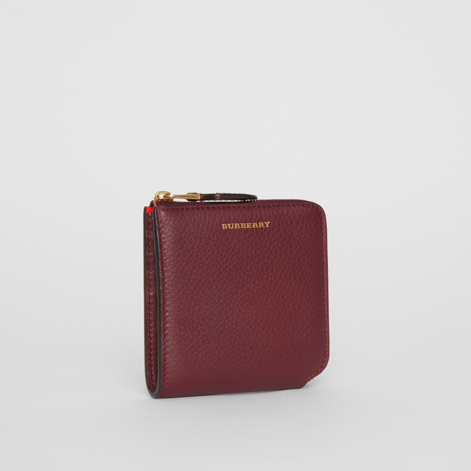 Grainy Leather Square Ziparound Wallet in Deep Claret - Women | Burberry United Kingdom - gallery image 4