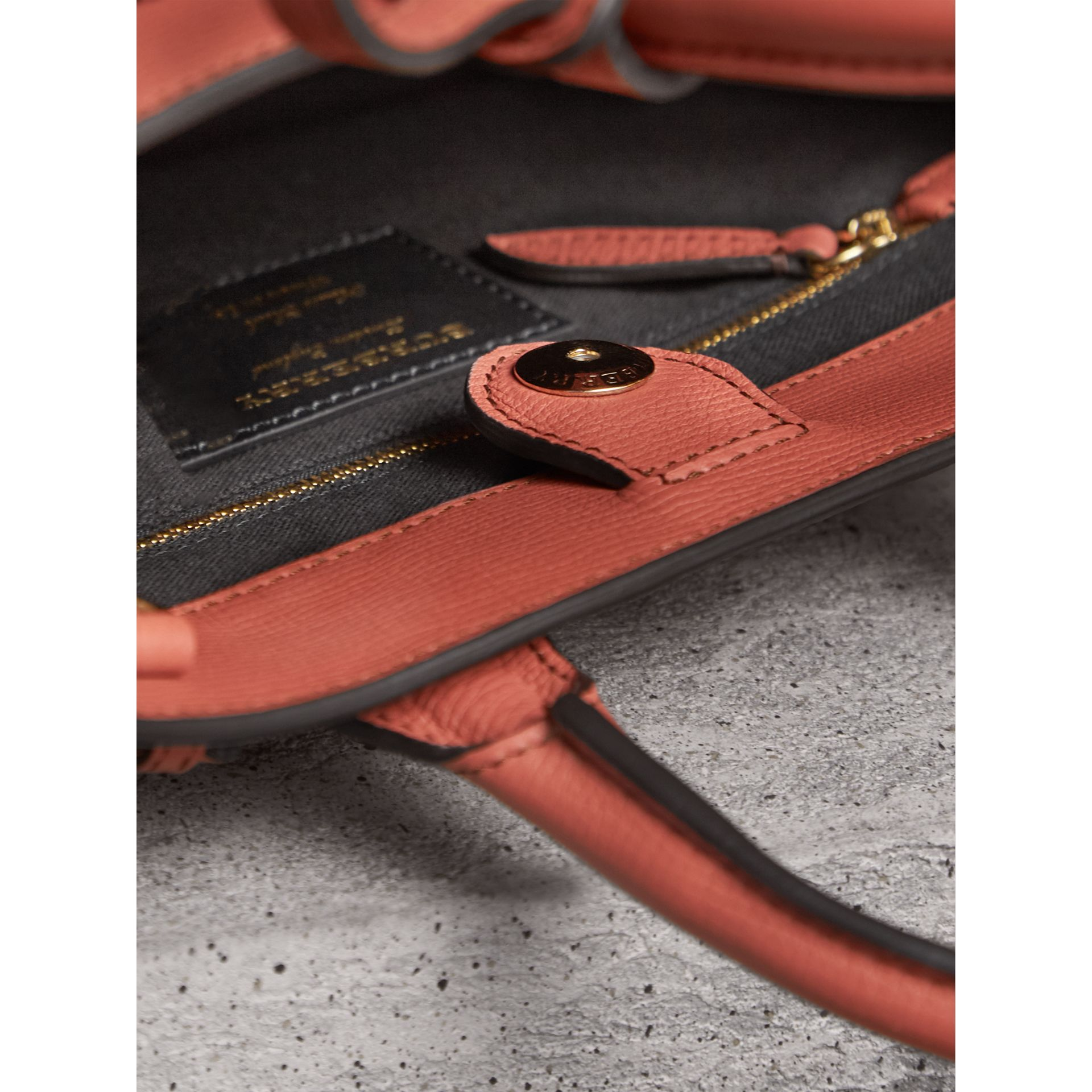 The Small Banner in Leather and House Check in Cinnamon Red - Women | Burberry - gallery image 5