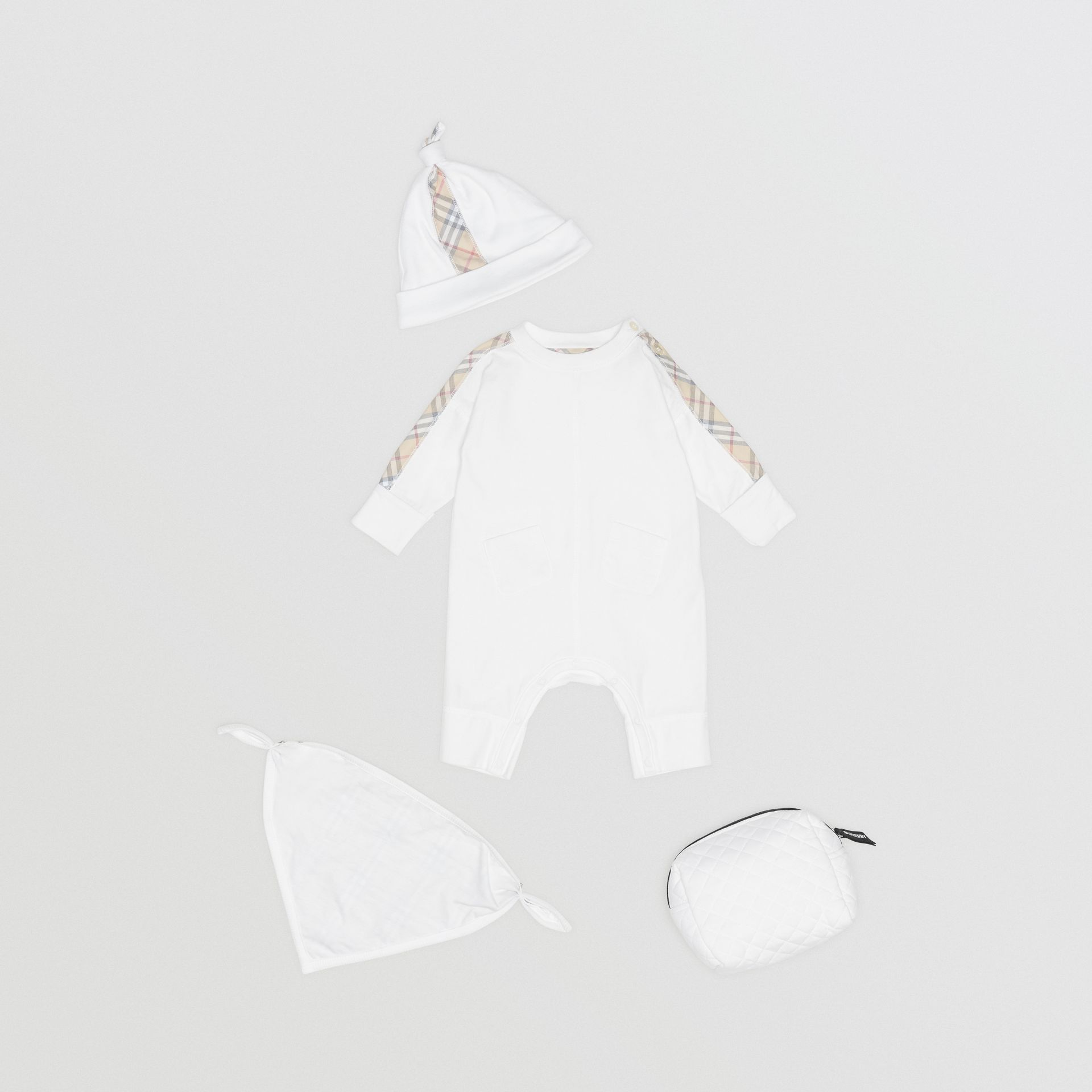 Check Cotton Three-piece Baby Gift Set in White - Children | Burberry United States - gallery image 0