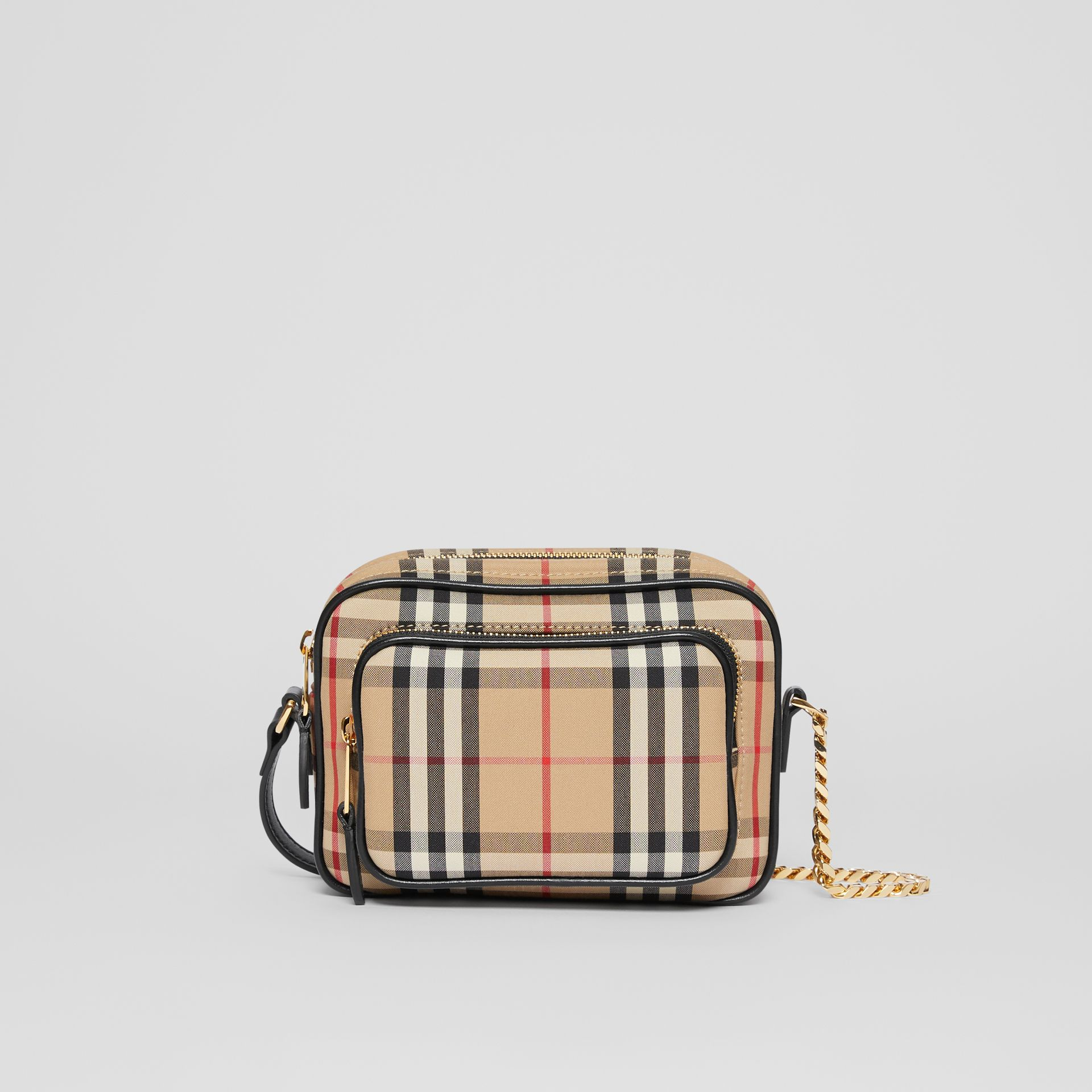 Vintage Check and Leather Camera Bag in Archive Beige | Burberry United States - gallery image 0
