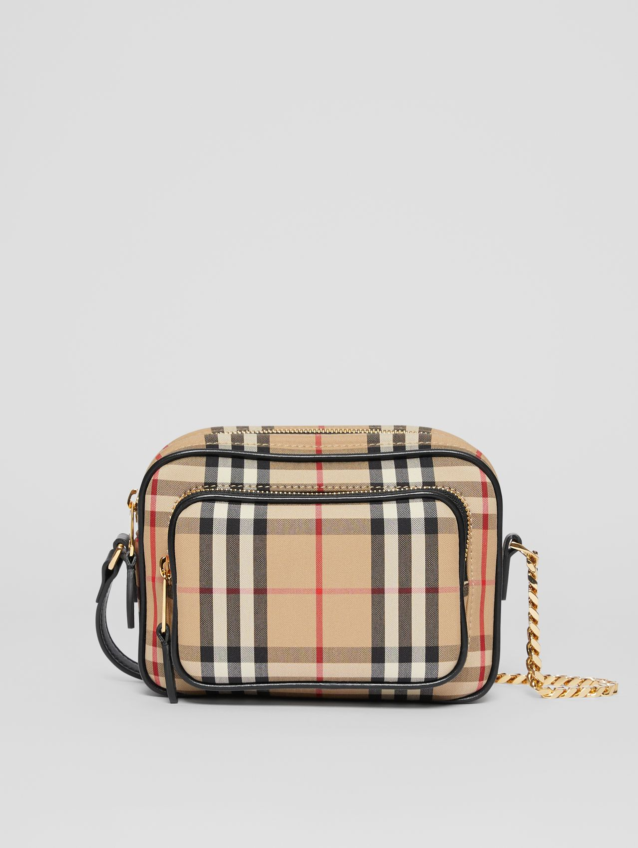 Vintage Check and Leather Camera Bag in Archive Beige