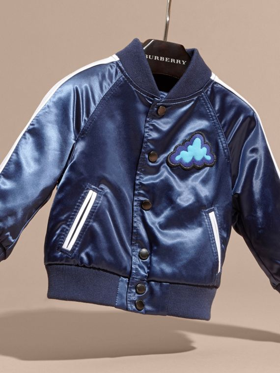 Bright navy Weather Appliqué Satin Bomber Jacket - cell image 2